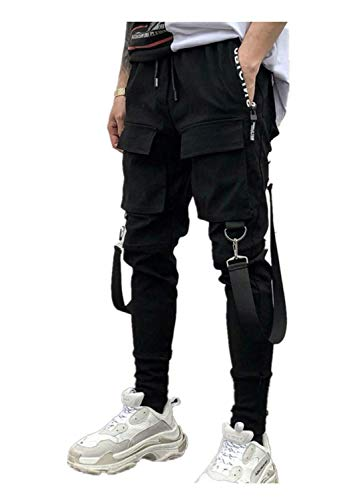 Pantaloni da Lavoro Uomo Side Pockets Pencil Pants Men's Hip Hop Patchwork Ripped Sweatpants Pantaloni Uomo Sportivo Fitness