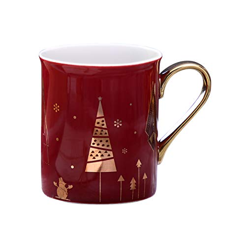 WAVEYU Ceramic Mug, Christmas Coffee Mug Marble with Handle Decoration with Sparky Gold Girly Coffee Cup for Girl Women for Ideal Gifts,9 OZ (Wine Red)
