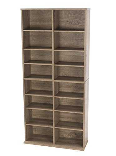 Atlantic Henley Adjustable Media Cabinet - Weather Oak, Holds 464 CDs, 228 DVDs or 276 Blu-Rays, 12 Adjustable and 4 Fixed Shelves PN38436252