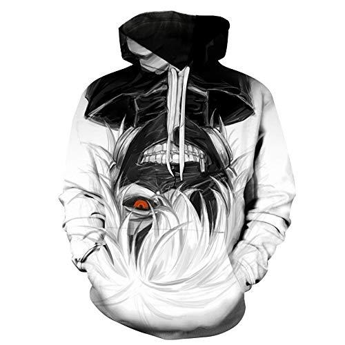 HXPainting Moda Sudadera con Capucha Unisex Impreso 3D Sweatshirt Anime Tokyo Ghoul Kaneki Ken Pelo Blanco Manga Larga Pullover con Bolsillo Grande,B,6XL