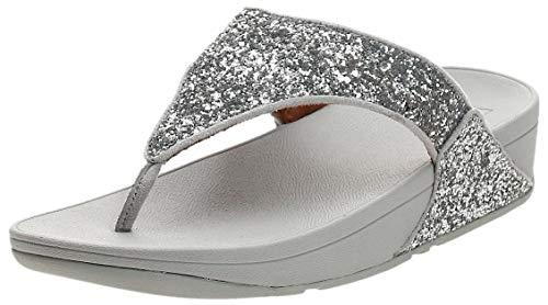 FitFlop Women's LULU Glitter Toe-Thongs Flip-Flop, Silver, US07 M US