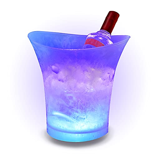 SMETA LED Ice Bucket 5L Colorful Plastic Large Champagne Wine Ice Bucket, Multi Colors Changing for Party/Home/Bar/KTV Clubs