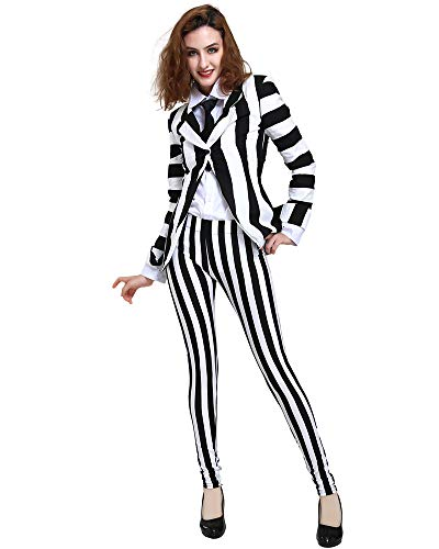 miccostumes Women's Black White Vertical Striped Horror Costume Blazer Legging Pants with Tie