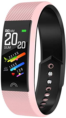 Reloj inteligente pulsera color pantalla impermeable calorías podómetro ejercicio fitness tracker sueño monitoreo rosa
