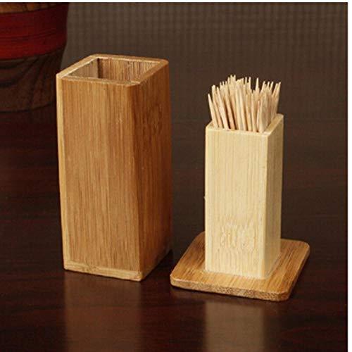 Zonfer Bambus Zahnstocher Box Deckel Platz Behälter Zahnstocher Halter Bambusholz Startseite Küchenhelfer Zahnstocher Inhaber