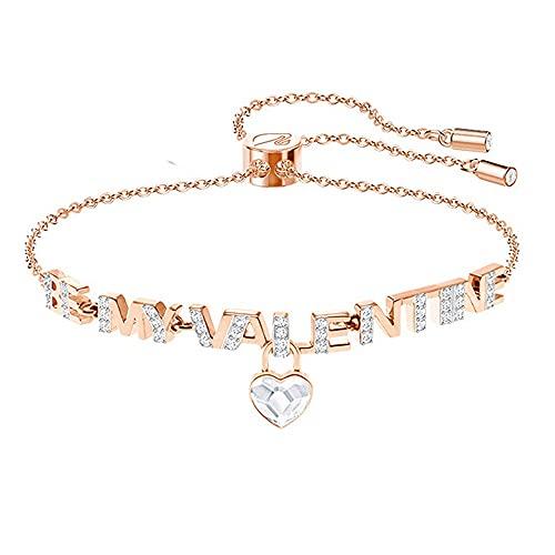 Meys Pulsera para mujer, temperamento, letra inglesa, colgante de amor, pulsera de diamante ajustable, pulsera de diamantes brillantes, accesorios de joyería para mujer, oro/plata (color: oro rosa)