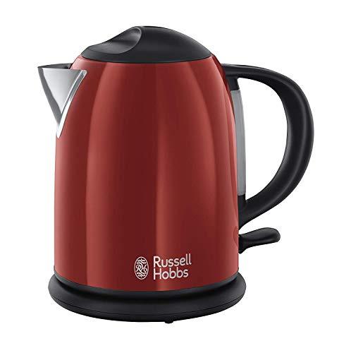 Russell Hobbs Bouilloire Compacte 1L Colours 2200W Ebullition Rapide, Niveau Eau Visible, Marquage 1, 2, 3 Tasses - Rouge 20191-70