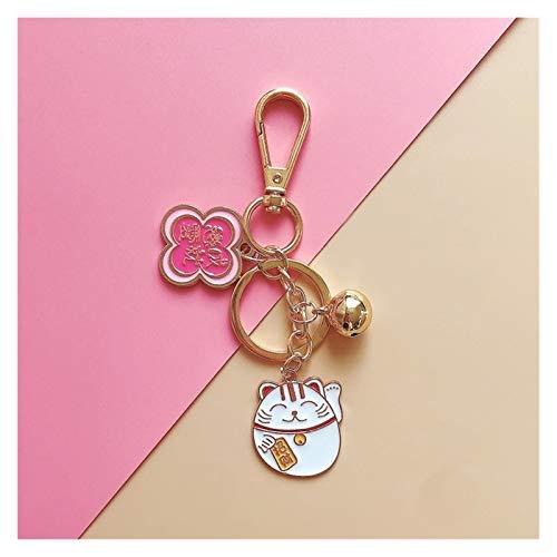 Llavero Afortunado de la historieta del gato Llavero de la moda lindo de animales Cadenas bolsa anillo de las mujeres de los hombres clave del coche clave Parejas regalos de la joyería titular clave
