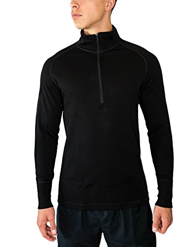 Woolx Mens Blizzard 1/4 Heavyweight Meirno Wool Base Layer Top For Extreme Warmth, Black, Medium