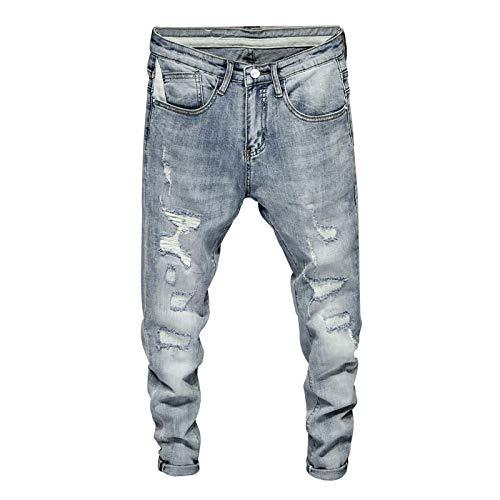 ShFhhwrl Vaqueros de Moda clásica Pantalones Vaqueros Pitillo Rasgados para Hombre Gris Azul Claro Elasticidad High Street Wear H