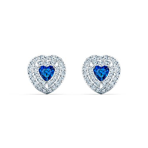 Swarovski Women´s One Stud Rhodium Plated Earrings with Dazzling White and Blue Swarovski Crystals, Part of The One Collection