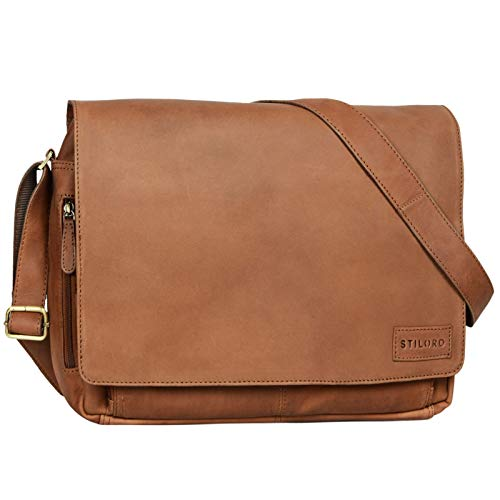 STILORD 'Rick' Schultertasche Leder für 15,6 Zoll Laptop Umhängetasche Aktentasche Bürotasche Unitasche Büffel-Leder, Farbe:Sattel - braun