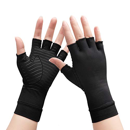 Copper Arthritis Compression Gloves- for Rheumatoid Carpal Tunnel Pain Relieve Relief, Comfort Arthritis Glove Fit for Women Men Typing And Daily Work (1Pair Small)