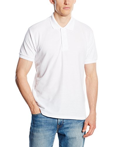 Fruit of the Loom SS033M, Polo Homme, Blanc, Small