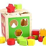 B&Julian® Holzspielzeug Steckspiel aus Holz mit bunt Steckwürfel in Sortierbox 16 TLG. Spielzeug 1 Jahre für Kinder Baby