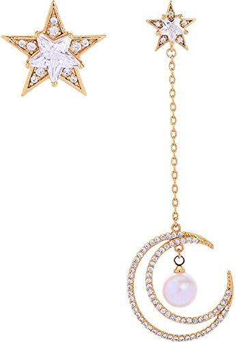 NC110 Pendientes de Mujer de diseño asimétrico Largo Creativo Estrellas con Incrustaciones de Diamantes Colgantes de Luna-Dorado