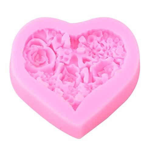 Kaned Molde de resina de silicona con forma de corazón de rosa, molde para hacer jabón, flores y fondant 3D, hecho a mano