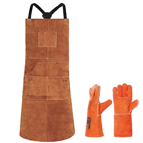 Leather Welding Apron 6 Pockets with Welding Gloves - Heat & Flame-Resistant Heavy Duty Work Aprons, 42