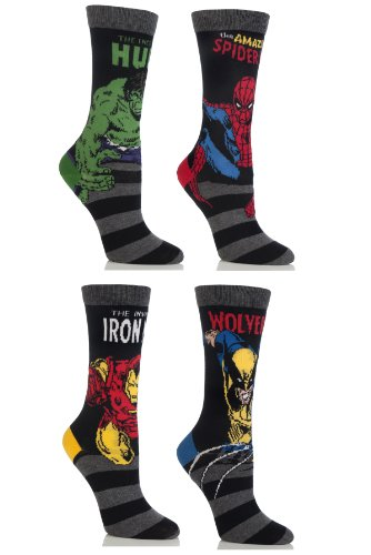 Kids 4 Paar SockShop Marvel Comics Mix Hulk, Spiderman, Wolverine & Ironman 12.9 Socken sortiert
