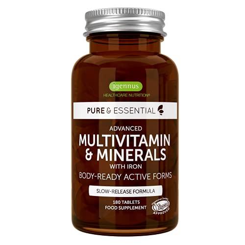 Pure & Essential Multivitaminico e Minerali per Donne con Ferro, Vitamina D3 1000iu, Zinco e Folato, 180 compresse vegane.