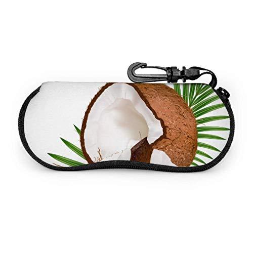 Estuche para gafas Fundas para gafas Marrón Pieza de coco roto Alimentos Bolsa suave Estuche de gafas de sol de neopreno con cremallera suave Bolsa protectora para gafas