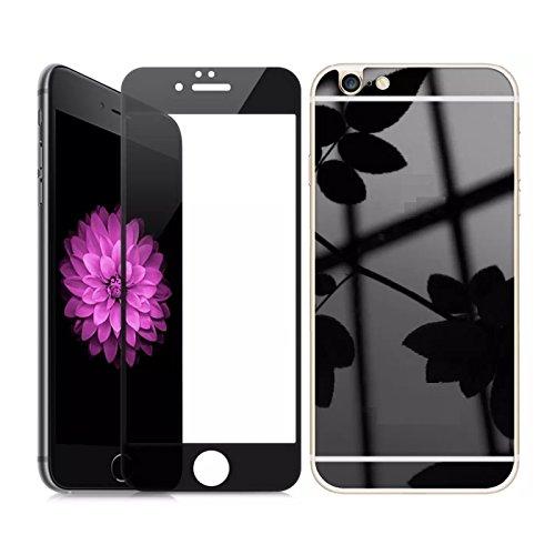 Cyxus Spiegel Reflecteren Gehard Glas Rand naar Rand Schermbeschermer voor iPhone 6 / 6s Plus (Front en Terug) (Zwart)