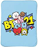 Line Friends BT21 Pile Up Throw Blanket - Measures 46 x 60 inches, Kids Bedding - Fade Resistant Super Soft Fleece - (Official Line Friends Product)
