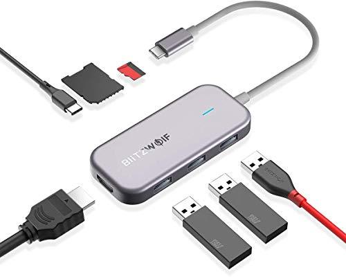 USB C ハブ BlitzWolf 7ポート 多機能タイプCアダプター 4K HDMI 3USB 3.0ポート 100W タイプC PD SD/TFカ...