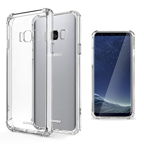 Moozy Funda Silicona Antigolpes para Samsung S8 Plus - Transparente Crystal Clear TPU Case Cover Flexible