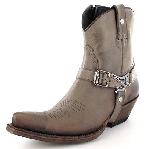 Mayura Boots Herren Cowboy Stiefel MB014 Meo Westernstiefelette Lederschuh Braun 44 EU