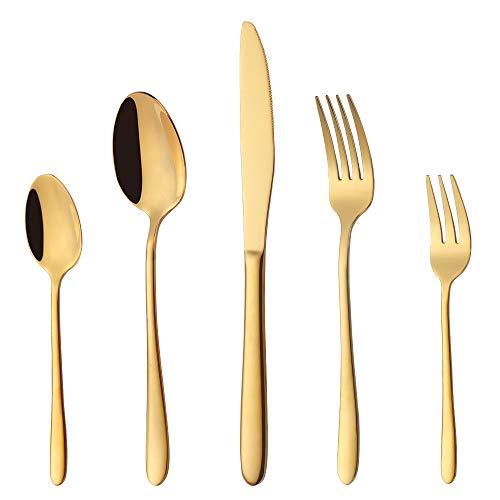 PHILIPALA Gold Besteck Set, bestecks Set 30-teilig,Besteck Set 6 Personen, Spiegelpoliert, Spülmaschinenfest,ideal für Haus, Küche, Restaurant, Hochzeitsfeste mit Geschenkbox