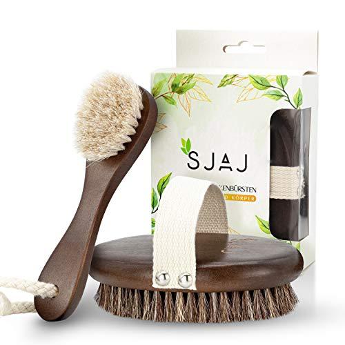 SJAJ Trockenbürste [2er Set] - ideal zur Reinigung der Haut - Gesichts- und Körperbürste aus bestem Naturhaar
