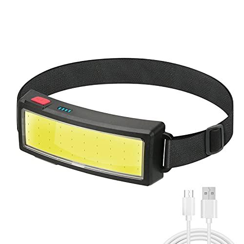 Torcia frontale USB ricaricabile, CestMall 3 modalità di illuminazione Torcia frontale ricaricabile Torcia frontale impermeabile super luminosa, luci a LED in esecuzione Lampada frontale COB per la