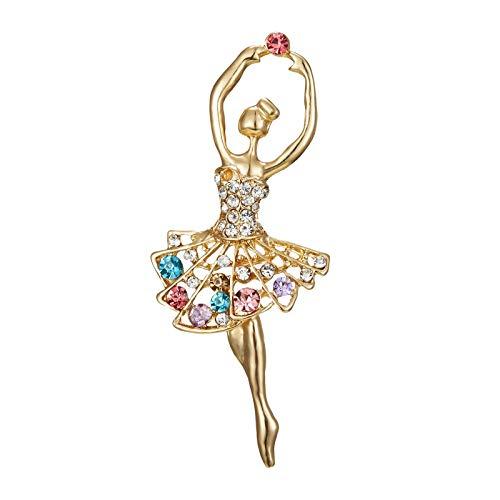 Julhold Broschen Damen Strasssteine Ballett Tanzen Mädchen Brosche Elegante Tanzrock Pin Damen Anti-lighting Corsage Brosche Clips Kopftuch Diamant Abzeichen Kostümzubehör(F)