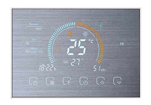 Qiumi Termostato Inteligente Wifi Controlador de temperatura del aire acondicionado con pantalla LCD de 2 tubos,Visualización del clima, índice UV Funciona con Alexa Google Home 95~240V CA