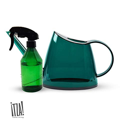 Itza - 1/3 Gallon/ 1.2 L Small Watering Can for Indoor Plants (Dark Green), Decorative, Modern Indoor Long Spout Water Can for Succulents or Bonsai Tree - Bonus Mister Spray Bottle Included