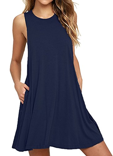 HAOMEILI Sleeveless Shift Dress Sundress Dresses for Women with Pockets M Navy Blue