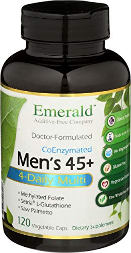 Men's 45+ 4-Daily Multi - Multivitamin with CoQ10, Saw Palmetto & Extra Lycopene - Supports Heart Health, Energy Boost, Immune System, Strong Bones - Emerald Labs - 120 Vegetable Capsules
