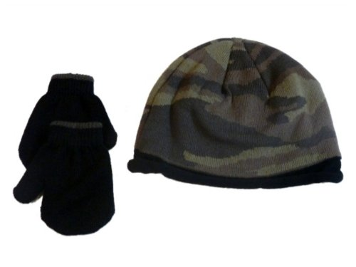 Faded Glory Toddler Boys Green Cammo Beanie & Mittens Knit Hat Set