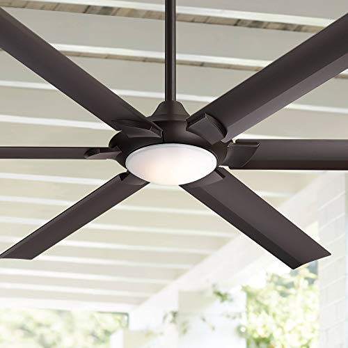 """70"""" Patriarch Industrial Outdoor Ceiling Fan with Light LED Dimmable Remote Control Oil Rubbed Bronze Damp Rated for Patio Porch - Casa Vieja"""
