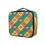 LUPINZ Bolsa de cosméticos con patrón de patchwork, bolsa organizadora de viaje para niña