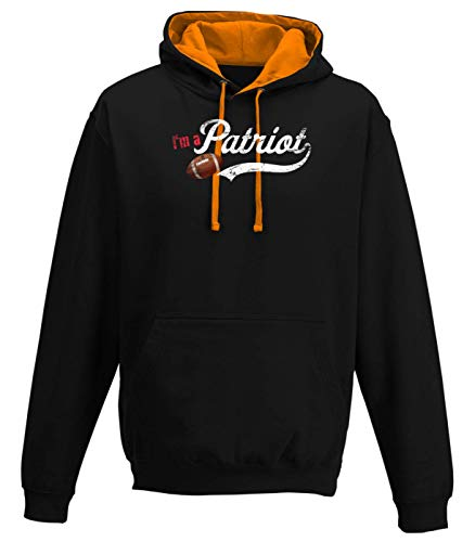 Shirt Happenz Patriots Any Given Sunday Pats Football Super Bowl Premium Varsity Hoodie Pulli Kontrasthoodie Kapuzenpullover, Größe:XL, Farbe:Schwarz Orange JH003
