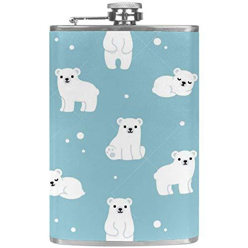 TIZORAX Leuke Polar Bear Cubs RVS heuptas Wine Flacon mok met lederen overtrek voor mannen vrouwen vrouwen 227 ml