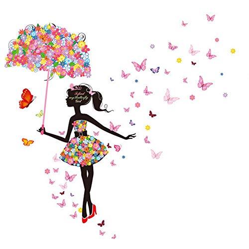 MEHOUSE Stickers Muraux enfants,Stickers Muraux enfants Fille,Stickers Fee Papillon Fleur elf Parapluie Fille Fond Mur Romantique Chaud Verre Décoration Autocollant 60 * 90cm