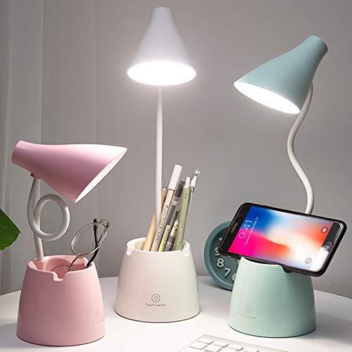 Lampara escritorio, Flexo LED Escritorio con 3 Modos de Iluminación y 10 Niveles de Brillo, Rotación Regulable de 360 ° Para Leer, Estudiar, Trabajar (Blanco)