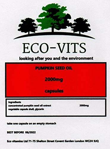 ECO-VITS Pumpkin Seed Oil (2000MG) 365 CAPS. Biodegradable Packaging. Sealed Pouch