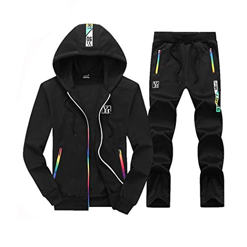 Mens Casual Tracksuits 2 Pieces Sets Sports Jogging Hooded Cardigan Sweat Suits (Black, M)