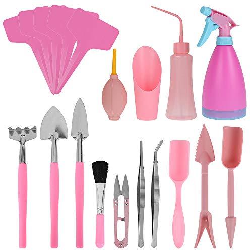 Mini Pflanzen Werkzeug Set, Gartenwerkzeug Set für Pflanzen Sukkulenten Topfpflanze Bonsai Werkzeug Gartenarbeit (19pcs)
