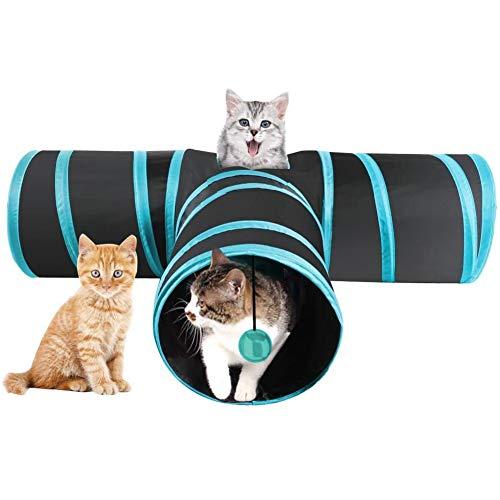 INTVN Túnel para Gatos, Túnel de 3 Vías para Gatos Juguete del Gato Túnel Extensible Plegable Gato Divertido Juego Túnel Casa del Laberinto del Juguete con Pompón para Gato Gatito Cachorro Conejo
