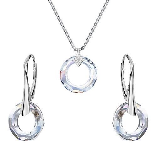*Beforya Paris* - Enso - Schmuck-Set - Viele Farben - Silber 925 Schön Damen Schmuckset mit Kristallen von Swarovski Elements - Wunderbare Schmuckset mit Geschenkbox PIN/75 (Crystal AB)